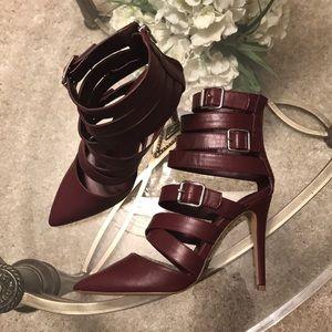 Burgundy strappy heels